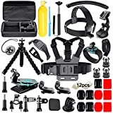 Soft Digits Accessories Bundle Kit Compatible for Gopro Hero 6 Hero 7 Hero 2018 for Xiaomi Yi for AKASO, for Most of Sports Camera 50-in-1 Accessory Kit with Case (Black)
