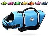 Vivaglory Ripstop Dog Life Vest, Reflective & Adjustable Pet Life Jacket with Enhanced Buoyancy & Rescue Handle, Blue, S