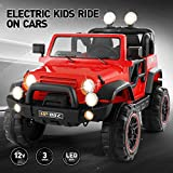 Fitnessclub Electric Cars for Kids, 12V Powered Kids Ride On Car with 2.4 GHZ Bluetooth Remote Control, LED Lights, MP3 Player, 3 Speeds (Red3)