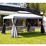 Grand Patio 10x13 Ft Patio Gazebo, Outdoor Instant Canopy with Mosquito Netting and Shade Curtains,Sturdy Straight Leg Tent for Backyard & Party & Event