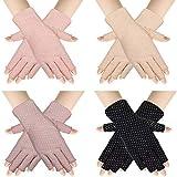 4 Pairs Women Sunscreen Fingerless Gloves UV Protection Half Finger Gloves Summer Sunblock Gloves for Driving Riding Fishing Golfing Outdoor Activities Favors, Medium (Round Dot)