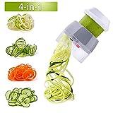 Handheld Spiralizer Vegetable Slicer Nurch 4 in 1 Veggie Spiral Cutter Zucchini Noodle Maker Spaghetti Maker Spiral Slicer Great for Salad