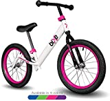 Pink Pro Balance Bike for Big Kids and Kids with Special Needs - 16' No Pedal Glide Training Bicycle for Children Ages 5,6,7,8. Peddle-Less Bike Made for Fun Learning.