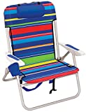 RIO beach Big Boy 4-Position 13' High Seat Backpack Beach or Camping Folding Chair, Pop Surf Stripes