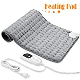Heating Pad, Electric Heat Pad for Back Pain and Cramps Relief - Electric Fast Heat Pad with 6 Heat Settings -Auto Shut Off- Machine Washable 12' x 24'.