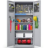 METALTIGER Metal Storage Cabinet - Multifunctional Garage Storage Closet with Doors, Adjustable Shelf Height and Leg Levelers, Includes Pegboard and Accessories, 900 lbs Full Capacity (Light Grey)
