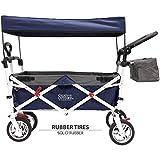 Creative Outdoor Push Pull Collapsible Folding Wagon Stroller Cart for Kids | Sun & Rain Shade | Beach Park Camping Tailgate & Garden | Navy Blue