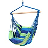 Blissun Hanging Hammock Chair, Hanging Swing Chair with Two Cushions, 34 Inch Wide Seat (Blue & Green Stripes)