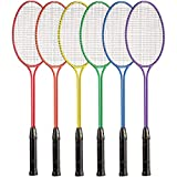 Champion Sports Tempered Steel Twin Shaft Badminton Rackets with Steel Coated Strings Set of 6