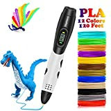 3D Pen with with Filament, DigiHero 3D Printing Pen with 1.75mm PLA Filament Pack of 12 Different Colors, Each Color 10 Feet, 3D Print Pen is Perfect Gift for Kids, Adults