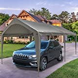 Sunnyglade 10x20 Ft Heavy Duty Carport Canopy Outdoor Portable Garage Tent Boat Shelter with 6 Legs for Outdoor Party, Wedding, Birthday, Garden, Boat,Dark Grey