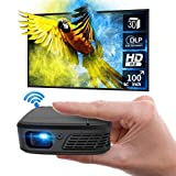 Pocket DLP Mini Projector 3D WiFi Full HD 1080P Supported Outdoor Movie Cinema Wireless Airplay Home Theater with Battery Powered for iPhone Android TV Stick DVD Player Laptop Tablet PS5 HDMI USB
