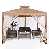 ABCCANOPY 10'x10' Gazebo Tent with Mosquito Netting Outdoor Instant Gazebo Canopy Shelter (Khaki)