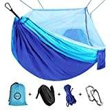 Camping Hammock with Net Mosquito, Parachute Fabric Camping Hammock Portable Nylon Hammock for Backpacking Camping Travel, Double Single Hammocks for Camping 110'(L) x 59'(W)