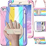 BRAECN iPad Mini Case 5th Generation, iPad Mini 5 Case for Kids, Heavy Duty Protective Rugged Case Cover with Hand Strap, Shoulder Strap, Kickstand, Pencil Holder for iPad Mini 5 / 4 -Light Rainbow