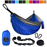 Gold Armour Camping Hammock - Extra Large Double Parachute Hammock (2 Tree Straps 16 Loops,10 ft Included) USA Brand Lightweight Nylon Mens Womens Kids, Camping Accessories Gear (Blue/Gray)