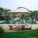 Grand patio Offset Patio Umbrella,11 FT Curvy Outdoor Aluminum Cantilever Umbrella with Base,Champagne
