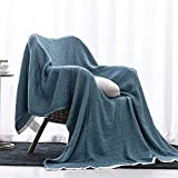 SE SOFTEXLY Cotton Blanket, 3-Layer Soft Breathable Throw Blankets for Couch/Bed, Light Comfortable Thermal Blanket for All Season(50'x60', Vintage Blue)