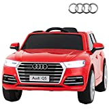 Uenjoy The Lastest Licensed Audi Q5 12V Kids Ride On Car Electric Cars Motorized Vehicles, Remote Control RC, Bluetooth, LED Lights, Music, Horn, Spring Suspension,AUX, red