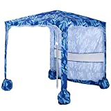 AMMSUN 5.5' × 5.5' Portable Beach Umbrella Canopy Cabana with Sand Pockets - Easy Set up and Take Down Large Shade Area Outdoor Canopies, Instant Sun Shelter with Privacy Sunwall(Blue)