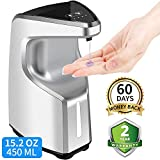 Touchless Soap Dispenser, 15.2 oz /450ml Touch-Free Battery Operated Automatic Soap Dispenser, w/Adjustable Soap Dispensing Volume Control Button, Hand-Free Safe Countertop/Wall Mounted Soap Dispenser