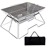 Folding Campfire Grill, Camping Fire Pit, Outdoor Wood Stove Burner, Folding Compact 304 Premium Stainless Steel, Portable Camping Grill with Carrying Bag for Outside Picnic Home BBQ