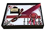 Calligraphy Pen Set   Antique Burgundy Feather French Quill Kit with 5 Extra Nibs, Bottled Dip Ink & Elegant Storage Case   Learn Islamic Art Arabic Lettering   Best Holiday Gift by FinestImpressions
