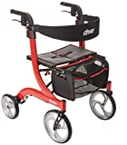 Drive Medical RTL10266 Nitro Euro-Style 4-Wheel Rollator Walker With Seat, Red