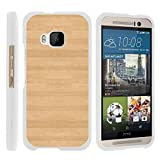 TurtleArmor | Compatible with HTC One M9 Case [Slim Duo] Two Piece Hard Cover Slim Snap On Case on White - Maple Wood