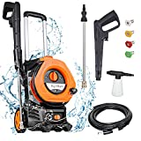 AgiiMan 3380PSI Electric Pressure Washer - High Power Pressure Washers 2.0 GPM + 1800W with Spray Gun 4 Nozzles Foam Cannon and Hose Reel for Cars, Homes, Driveways, Patios, Orange