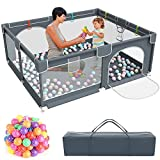 Baby Playpen,Kids Large Playard with 50PCS Pit Balls,Indoor & Outdoor Kids Activity Center,Infant Safety Gates with Breathable Mesh,Sturdy Play Yard for Toddler,Children's Fences Packable & Portable
