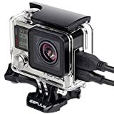 GEPULY Skeleton Housing Case for GoPro Hero 4, Hero 3+, Hero 3 Action Camera Side Open Protective Housing Case with Skeleton Backdoor and LCD Touch Backdoor for GoPro Hero4, Hero3+, Hero3 Camera