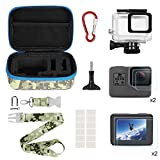 Kitspeed Accessories kit for GoPro Hero 7 Black / 6/5 (2018), Including Waterproof Housing Case/Portable Small Carrying case/Screen Protector/Carabiner/Camouflage Strap/Anti-Fog Insert