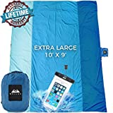 WELLAX Sandfree Beach Blanket - Huge Ground Cover 9' x 10' for 7 Adults - Best Sand Proof Picnic Mat for Travel, Camping, Hiking and Music Festivals - Durable Tarp with Corner Pockets (Blue)
