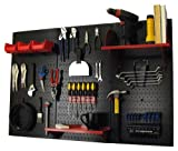 Pegboard Organizer Wall Control 4 ft. Metal Pegboard Standard Tool Storage Kit with Black Toolboard and Red Accessories