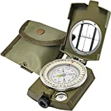 Lensatic Military Compass Hiking - Tritium Compass Military Grade style Camping Backpacking - Tactical Army Green Compass Survival Navigation - Hiking Waterproof Sighting Compass with Pouch (Green)