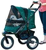 Pet Gear No-Zip Jogger Pet Stroller for Cats/Dogs, Zipperless Entry, Easy One-Hand Fold, Gel-Filled Tires, Cup Holder + Storage Basket, Forest Green