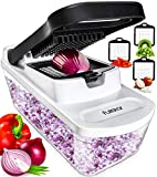 Fullstar Vegetable Chopper Food Chopper - Tomato Dicer, Onion Chopper, Vegetable Cutter - Food Dicer Chopper with Glass Storage Container - Kitchen Tools Onion Dicer with 3 Blades
