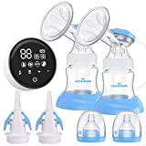 Electric Double Breast Pump Eccomum Breastfeeding Pump with 4 Modes & 9 Levels, Memory Function, BPA Free, Full Touchscreen LED Display, Strong Suction Power, Pain Free, Rechargeable, Ultra-Quiet