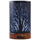 EQUSUPRO Essential Oil Diffuser 100ml Metal Aromatherapy Oil Diffuser Ultrasonic Cool Mist Diffuser with Waterless Auto Shut-Off Protection,7 Colors Changed LED for Home Office SPA Yoga (Tree)