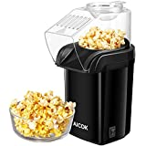 Aicok Hot Air Popcorn Popper, 1200W Fast Popcorn Maker with Measuring Cup, Oil-Free & Healthy, Easy To Clean, ETL & FDA Certified, Black