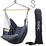 Bengum Hammock Chair Hanging Swing | Indoor and Outdoor Use | Large Swinging Seat Chair for Patio, Bedroom, or Tree | 2-Tone Grey Durable Hammock + 2 Cushions + Side Pocket + Rope + Carrying Bag + S'