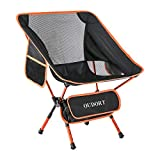 Oudort Portable Camping Chairs, Ultralight Foldable Chairs Adjustable Backpacking Collapsible Beach Chair with 2 Pockets for Camping, Hiking and Travelling, Max Hold to 300 Pounds (1-Orange)