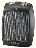 Lasko CD09250 Ceramic Adjustable Thermostat Tabletop or Under-Desk Heater, 9 Inches High, Black