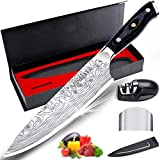 MOSFiATA 8' Super Sharp Professional Chef's Knife with Finger Guard and Knife Sharpener, German High Carbon Stainless Steel 4116 with Micarta Handle and Gift Box
