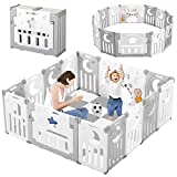 Baby Playpen, Dripex Upgrade Foldable Kids Activity Centre Safety Play Yard Home Indoor Outdoor Baby Fence Play Pen NO Gaps with Gate for Baby Boys Girls Toddlers (Grey + White)