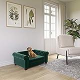 Ollie & Hutch Felix, Small/Medium Size Pet Bed, Green Velvet Sofas