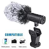 Phone Microphone and Camera Microphone, Super-Cardioid Video Microphone with Earphone Monitor Hole and Deadcat Windscreen for Microphone for iPhone xr