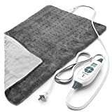 Pure Enrichment® PureRelief™ XL (12'x24') Electric Heating Pad for Back Pain and Cramps - 6 InstaHeat™ Settings, Machine-Washable, Ultra-Soft Microplush, Auto Shut-Off, and Moist Heat (Charcoal Gray)