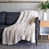 Soft Fuzzy Faux Fur Throw Blanket ,50'x60',Reversible Lightweight Fluffy Cozy Plush Fleece Comfy Furry Microfiber Decorative Shaggy Blanket for Couch Sofa Bed,Cream White